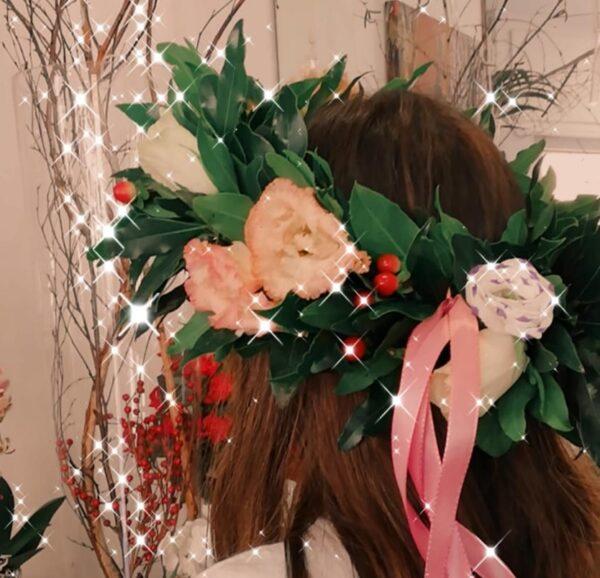 corona di alloro per laurea con fiori - consegna a domicilio