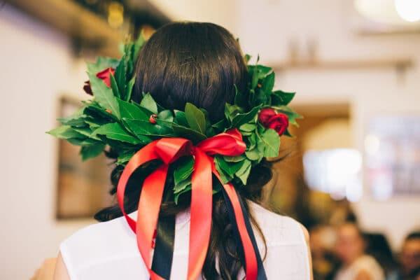corona di alloro per laurea con rose - consegna a domicilio